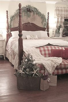 country cottages, bedroom decor, french country, cottage christmas, country christmas, cottage bedrooms, country bedrooms, christmas bedroom, bedroom designs