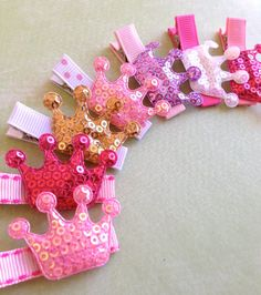 Sequined Princess Crown Hair Clips - Set of 3- Princess Party Favors