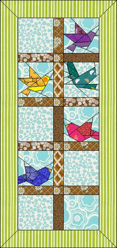 Cheerful Chicks - Free Bird Quilt Pattern available for EQ7 EQ6 and Quilt Design Wizard