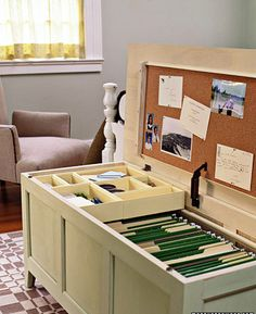 Cool filing system idea with out the sore thumb of having a file cabinet stick out.