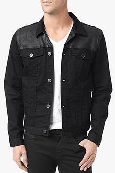 7 For All Mankind, Leather Paneled Jean Jacket in Black Black Black, No Fade Denim
