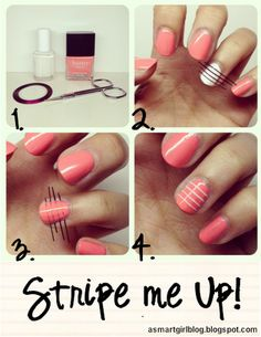 How did i not think of this before! Easy way to do your own nail stripes!