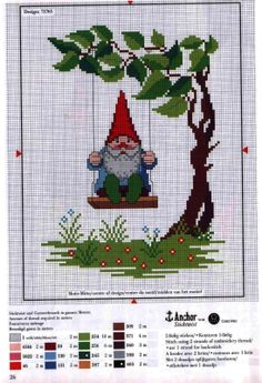swinging gnome - This is a cross stitch pattern, but I wonder if I can turn it into something to crochet?