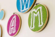 Reverse Embroidery Hoop Monogram DIY   Flax & Twine