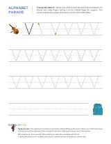 Uppercase V letter tracing worksheet, with easy-to-follow arrows showing the proper formation of the letter.