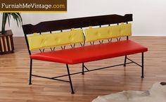 wrought iron retro bench