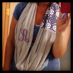Simple infinity scarf made out of a half a yard jersey cotton and fat quarter coordinating fabric! Embroidered using a brother PE 770.