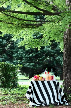 stripe tablecloth, tree, outdoor parties