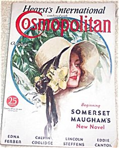 $75 cover of COSMOPOLITAN MAGAZINE FOR OCTOBER 1932, beauty in big floppy flower hat.