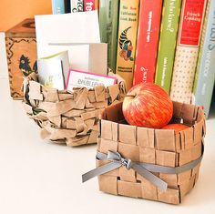 Weave strips of paper bags together to make these cute baskets. Photo: Sarah Lipoff