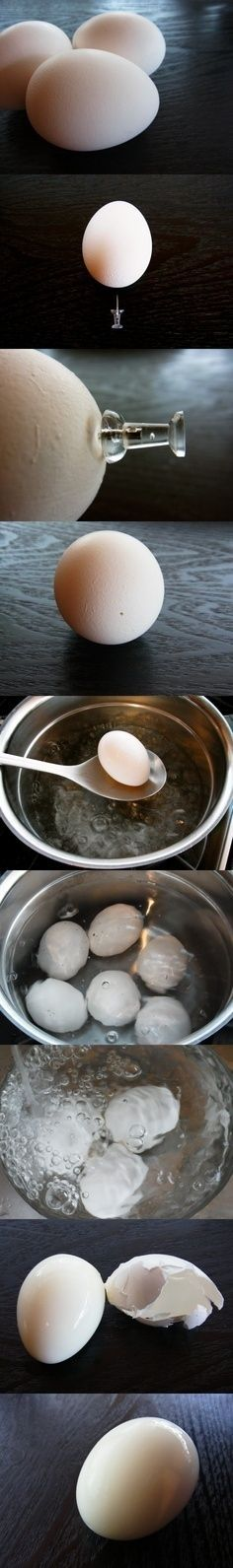 Use a Thumb Tac for the Perfect Boiled Egg | Community Post: 34 Creative Kitchen Hacks That Every Cook Should Know perfect boil, cook, idea, eggs, boil egg, food, kitchen, yummi, recip