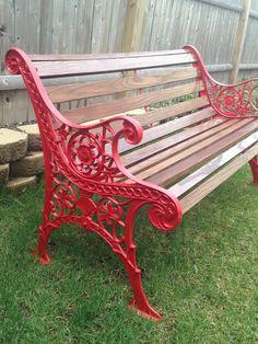 Vintage cast iron bench restored
