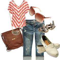 :) #nifty fashion, android, style, tom shoes, summer outfits, beach, casual looks, stripe, shirt
