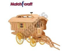 This Matchcraft Ledge Caravan includes everything needed to make this matchstick model kit.  Included are all the pre-cut card formers along with the glue, matchticks and full instructions. These instructions will guide you through each stage of the construction until you finally achieve the finished product.  We would highly recommend this Matchcraft Ledge Caravan.    Overall size of finished model:  240mm long, plus 130mm shafts  130mm wide  190mm high.