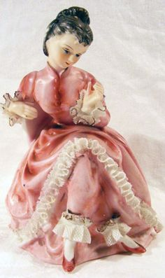 Vintage Porcelain Victorian Lady String Holder Figurine with Dresden Lace Ruffles