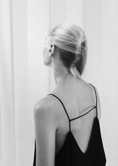 Open back strap cami top in black. Minimal outfit. #style http://www.superrassspy.com/