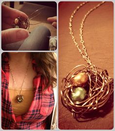 DIY Mother's Day Birthstone nest necklace