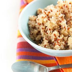 Breakfast Quinoa:  shredded coconut, pecans,  banana, and cinnamon plus a little  vanilla. -- I added a tablespoon of maple syrup rather than vanilla and it was fantastic! A healthy breakfast alternative that tastes amazing and is full of protein!