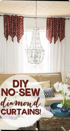 These no-sew Anthropologie-inspired diamond curtains started as plain old panels from IKEA. It's amazing what you can do with a little extra fabric and hemming tape!