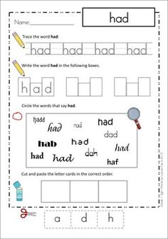 Sight Words - Cut and Paste Worksheets BUNDLE (Pre-Primer, Primer, Grade 1). So many tasks on one page! Love this for word work!