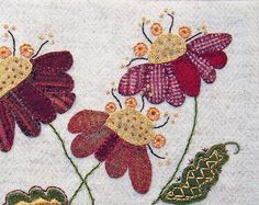 hand embroidery | Jacobean Flower Applique Embroidery / PDF by ThreeSheepStudio