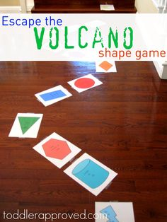 Here's a great game for inside on cold, wet winter days: Escape the Volcano Shape Game. Not only do you get the wiggles out, you can review colors, shapes, and practice the skills on the game pieces.
