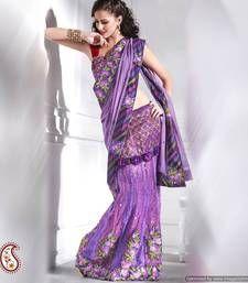 Deep lilac Net and Chiffon Lehanga Saree net-saree @ www.mirraw.com lehenga sare, lilac net, chiffon lehenga, lehanga sare, style sare, violet, deep lilac, chiffon lehanga, lehenga style
