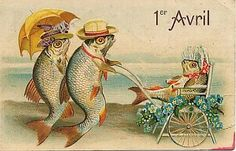 The fish family takes an April 1st stroll. #vintage #April_Fools_Day #fish