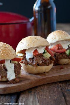 Beer Braised Pork Burgers