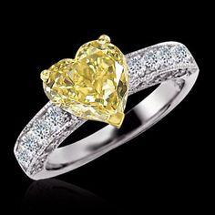 yellow canary diamond wedding ring heart cut