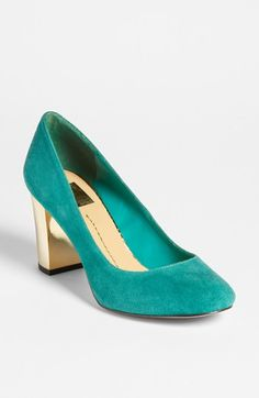 DV by Dolce Vita 'Dollie' Pump available at #Nordstrom Teal suede pump with metallic gold block heel. Swoon!