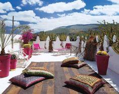 patio design, rooftop terrace, elle decor, dream, roof deck, morocco style, roof terraces, outdoor spaces, moroccan decor