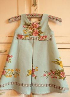 Upcycled Vintage Cotton Tablecloth Girl Toddler Dress Pleated Floral Pink Blue Shabby Chic. Etsy.