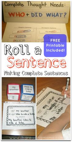 Making Complete Sentences with Roll a Sentence (FREE Printable Included) ~ Plus more resources for making sentence writing fun! | This Reading Mama