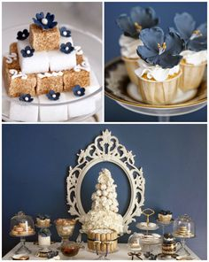 French inspired High Tea Party via Kara's Party Ideas KarasPartyIdeas.com | Desserts, Cakes, Recipes, and More! #hightea #frenchteaparty #pa... dessert tables, dessert cakes, tea parti, french high tea, tea party cake ideas, french blue, blue weddings, parti idea, kara parti