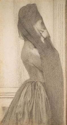 The Veil (c.1887) – Fernand Khnopff (1858–1921) symbolist art, draw, veils, inspir, khnopff 18581921, 1887, illustr, khnopff fernand, fernand khnopff