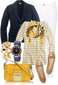 "I love the contrast of the dark blue with the mustard & stripes. This would look good with your new dark jeans too. ""Outfit idea 2"" by luv2shopmom on Polyvore"