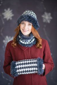 Houndstooth Trio Digital Crochet Pattern from Love of Crochet magazine's Holiday Crochet 2014 Issue - A hat, cowl, and muff to keep you cozy