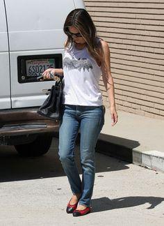 Rachel Bilson in a bat t-shirt and cap toe flats