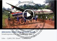Plane Found in Forest Scam Message: At the time of writing, the plane has not yet been found. The message is a scam designed to trick people into liking a particular Facebook Page. The image certainly does not show the Malaysia Airlines Plane.