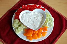 Heart shaped veggie tray for Valentine's Day party