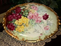 Limoges Exquisite Platter with Pink/Yellow/Red Roses and Gold