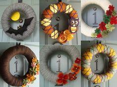 Fall yarn wreaths #halloween #owl #leaves