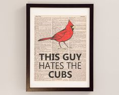Vintage St. Louis Cardinals Print - This Guy Hates the Cubs - Print on Vintage Dictionary Paper - Baseball Art - Gifts For Him gift, art prints, cardin print