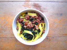 Fettucine with sausage & kale.