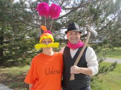 Dr. Suess' The Lorax and The Once-Ler homemade costumes