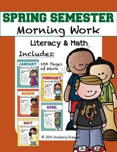 Spring Semester MEGA Bundle of Morning Work, Kindergarten Edition. CCSS from Kimberly's Kindergarten on TeachersNotebook.com -  (103 pages)  - This morning work MEGA bundle combines my January-May packets and includes 100 pages of CCSS-aligned literacy and math work to ease your children into their day or to supplement their skills.