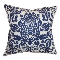 Cotton pillow with a damask-inspired motif and feather-down fill. Made in the USA.   Product: PillowConstruction Ma...
