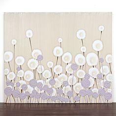 Modern Nursery Art Flower Painting - Textured Acrylic Art on Canvas - 24X20 Small Khaki and Purple Art for Baby Girl- IN STOCK. $95.00, via Etsy.