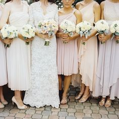 #bridesmaids in mixed peachy neutrals Photography: Alexandra Steele Photography - www.alexsteelephotography.com  Read More: http://www.stylemepretty.com/2014/06/06/modern-indoor-chicago-wedding/